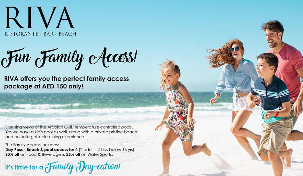 Family Day Pass at RIVA Beach Club @ Dubai, Deal, Offer, Coupon, Discount, Book